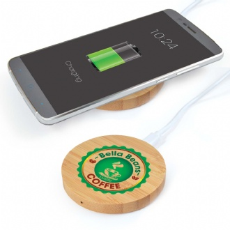 Arc Round Bamboo Wireless Charger - LL0220 Image