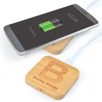 Arc Bamboo Square Wireless Charger - LL0224 Image