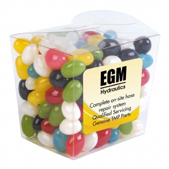 Assorted Colour Mini Jelly Beans in Clear Mini Noodle Box - LL3154 Image