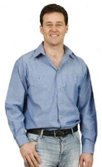 [BS03L] Mens w/f chambray shirt L/S - BS03L Image