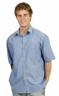 [BS03S] Mens w/f chambray shirt S/S - BS03S Image