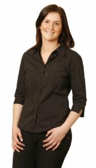 [BS18] Ladies L/S Stretch Stripe Shirt - BS18 Image