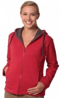 [FL18] Ladies' Full Zip Contrast Fleece Hoodie - FL18 Image