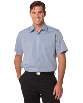 [M7011] Men's Fine Chambray Short Sleeve Shirt - M7011 Image