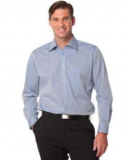 [M7012] Men's Fine Chambray Long Sleeve Shirt - M7012 Image