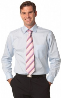 [M7100L] Men's Self Stripe L/S Shirt - M7100L Image