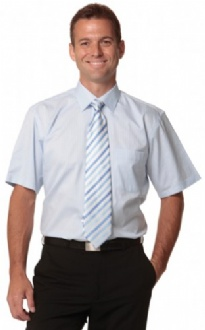 [M7100S] Men's Self Stripe S/S Shirt - M7100S Image