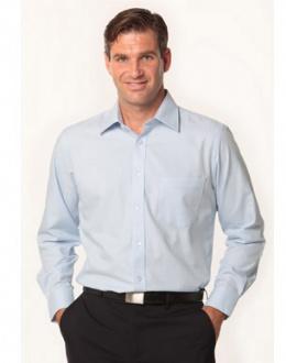 [M7112] Men's Mini Herringbone Long Sleeve Shirt - M7112 Image