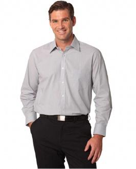 [M7212] Men's Fine Stripe Long Sleeve Shirt - M7212 Image
