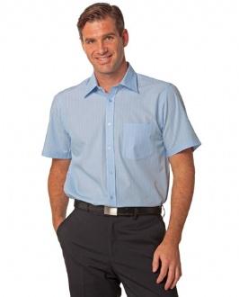 [M7221] Men's Pin Stripe Short Sleeve Shirt - M7221 Image