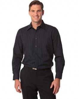 [M7222] Men's Pin Stripe Long Sleeve Shirt - M7222 Image