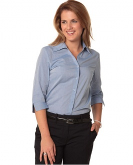[M8013] Women's Fine Chambray 3/4 Sleeve Shirt - M8013 Image