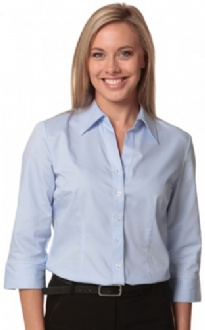 [M8030Q] Women's Fine Twill 3/4 Sleeve Shirt - M8030Q Image