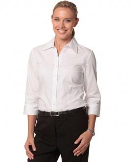 [M8040Q] Women's CVC Oxford 3/4 Sleeve Shirt - M8040Q Image