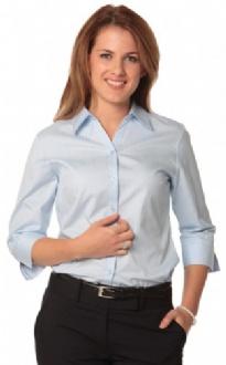 [M8100Q] Women's Self Stripe 3/4 Sleeve Shirt - M8100Q Image
