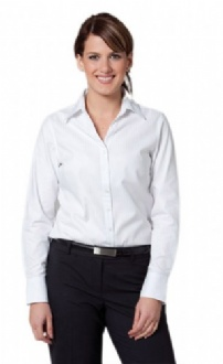 [M8102] Women's Self Stripe Long Sleeve Shirt - M8102 Image