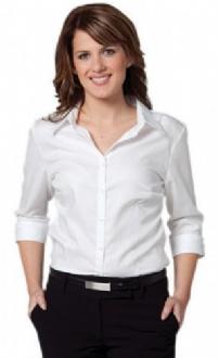 [M8113] Women's Mini Herringbone 3/4 Sleeve Shirt - M8113 Image