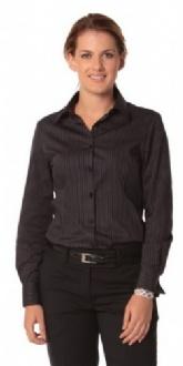 [M8132] Women's Dobby Stripe Long Sleeve Shirt - M8132 Image