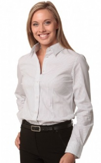 [M8200L] Women's Ticking Stripe L/S Shirt - M8200L Image