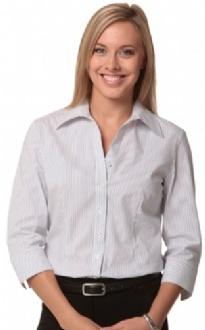 [M8200Q] Women's Ticking Stripe 3/4 Sleeve Shirt - M8200Q Image