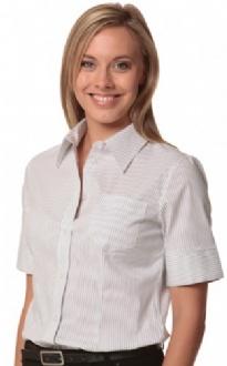 [M8200S] Women's Ticking Stripe S/S Shirt - M8200S Image