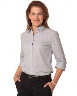 [M8213] Women's Fine Stripe 3/4 Sleeve Shirt - M8213 Image